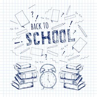 De volta à escola. ilustração em vetor educação livros desenhados à mão, relógio