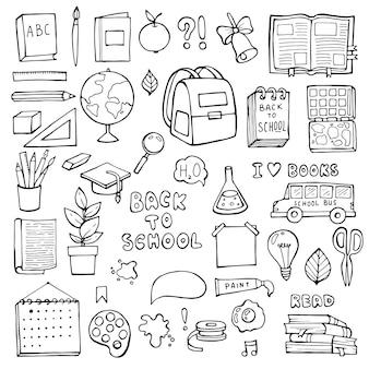 De volta à escola. itens de educação.