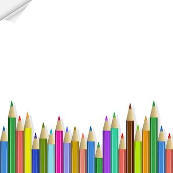 De volta à escola, lápis de cor
