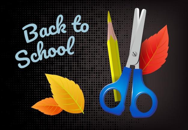 De volta à escola letras com folhas