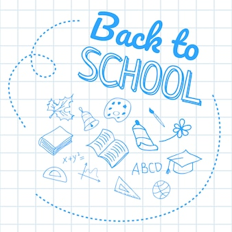 De volta à escola letras em papel quadriculado com desenhos de mão