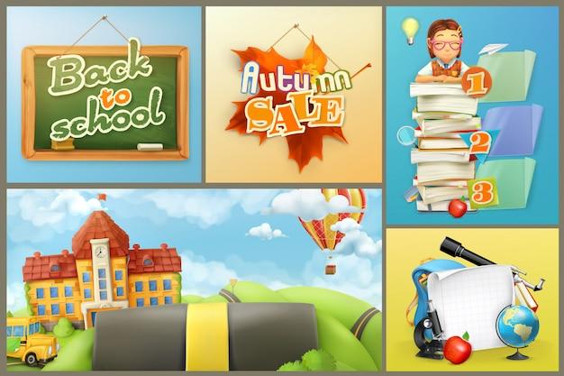 De volta à escola. liquidação de outono, escola, educação e alunos