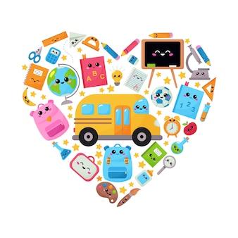 De volta à escola. material escolar dos desenhos animados emoldurado em forma de coração. personagens na ilustração do estilo kawaii.