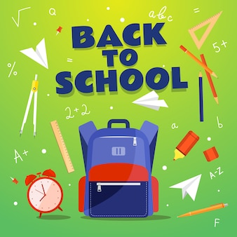 De volta à escola. material escolar: mochila, relógio, bússola, caneta, lápis, marcador, triângulo, números. ilustração.