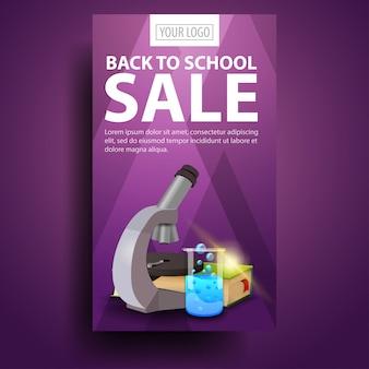 De volta à escola, moderno, elegante banner vertical para o seu negócio com microscópio