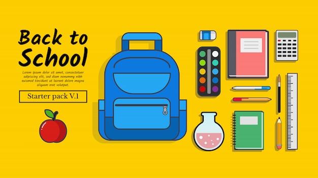 De volta à escola. pack inicial de ilustração de volta à escola