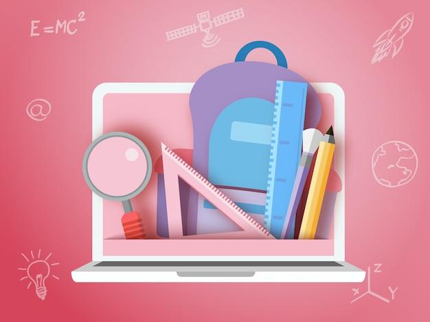 De volta à escola papelaria e laptop estilo de arte de papel