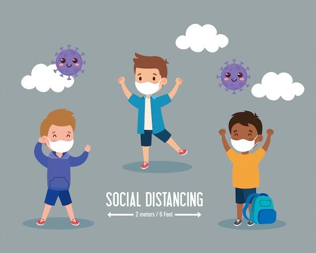 De volta à escola para um novo conceito de estilo de vida normal, crianças com máscara médica e distanciamento social protegem o vírus do coronavírus 19