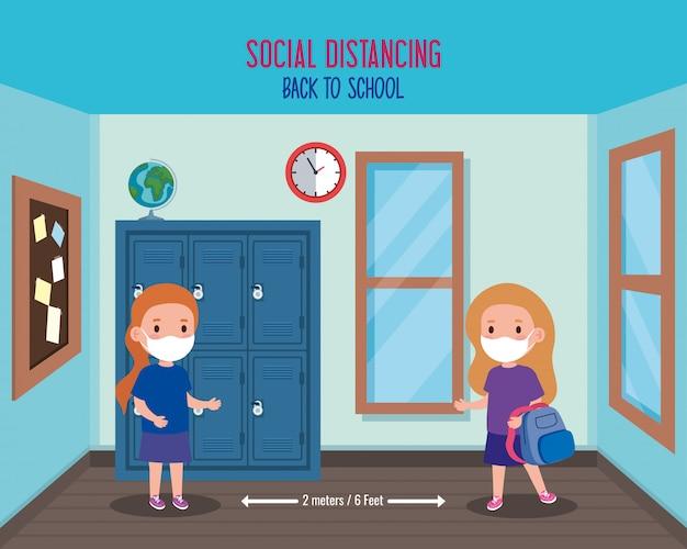 De volta à escola para um novo conceito de estilo de vida normal, meninas com máscara médica e distanciamento social protegem o coronavírus covid 19, na escola