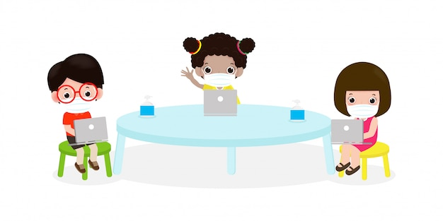 De volta à escola para um novo distanciamento social do estilo de vida normal na sala de aula conceito, prevenção dicas infográfico coronavírus 2019 ncov. crianças e laptop e tablet pc e usando máscara na sala de aula