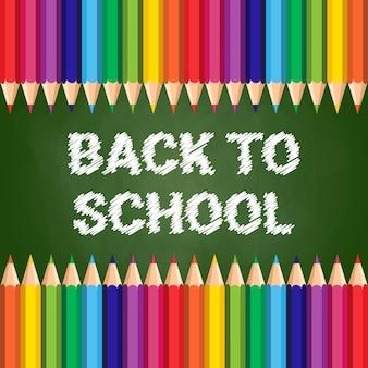 De volta à escola poster giz de cera colorido