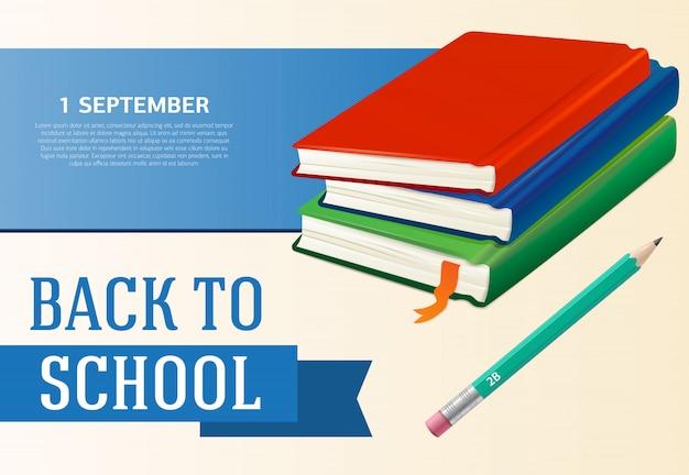 De volta à escola, primeiro de setembro design de cartaz com livros didáticos