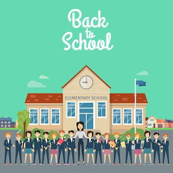 De volta à escola. professor com alunos no pátio da escola