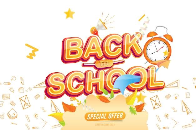 De volta à escola. promoção de verão 50% oferta especial. efeito de texto com alto-falante. banner horizontal da web no fundo com efeitos de luz. ilustração vetorial plana eps10.