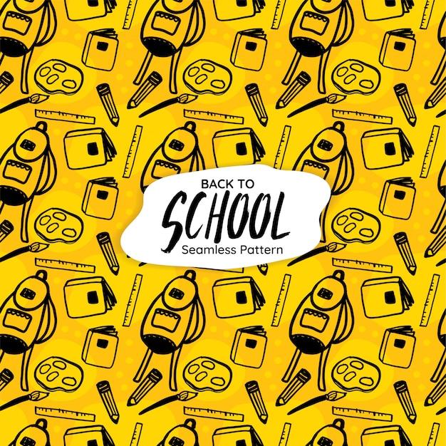 De volta à escola sem costura padrão em fundo amarelo