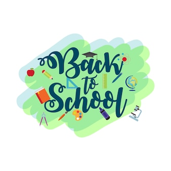 De volta à escola tipografia e ícone