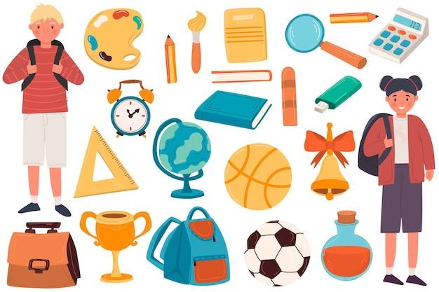De volta à escola. um grande conjunto fofo com material escolar, uma mochila, artigos de papelaria, livros, uma caneta, uma régua. menino e menina bonito personagem.