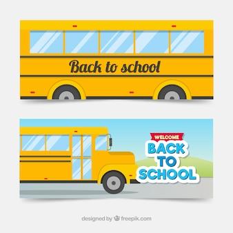 De volta à escola web banners com ônibus escolar
