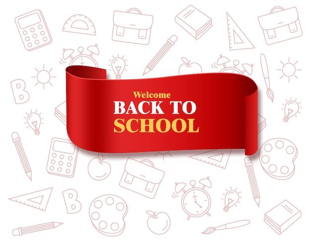 De volta à fita da escola com placa de suprimentos escolares