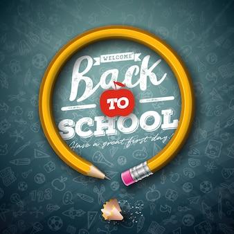 De volta à frase de escola com lápis de grafite e letras de tipografia na lousa preta