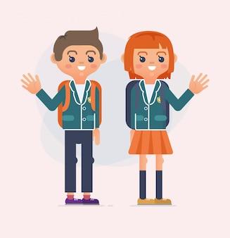 De volta à ilustração da escola de crianças