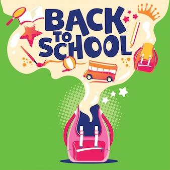 De volta à ilustração da escola, mochila com equipamento escolar