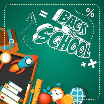 De volta à ilustração de cartaz plana de escola