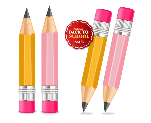De volta à ilustração de suprimentos de lápis de escola