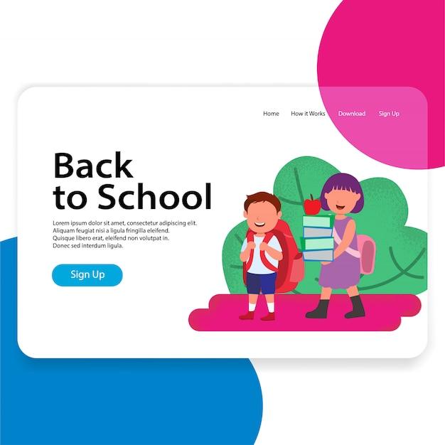 De volta à ilustração de web de página de destino de escola