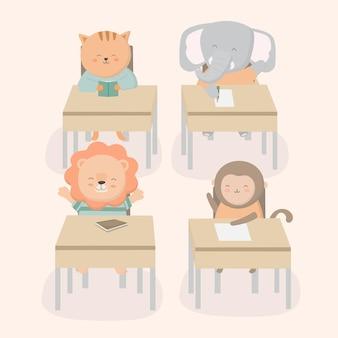 De volta à ilustração dos desenhos animados do conceito com o tema da sala de aula da escola.