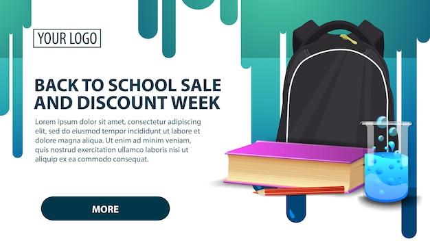 De volta à semana de venda e desconto de escola, banner com mochila escolar