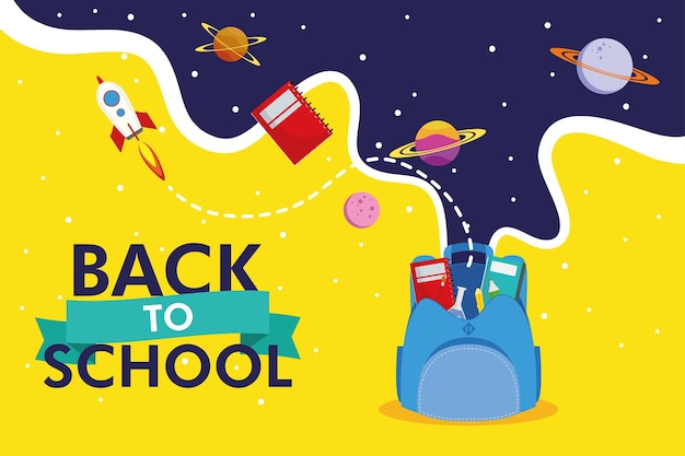 De volta à temporada escolar com design de ilustração vetorial de mochilas e ícones do espaço