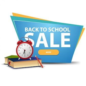 De volta à venda da escola, banner de desconto com um botão, livros escolares e despertador