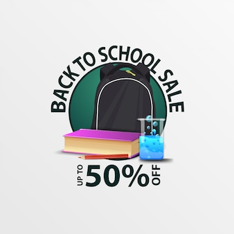 De volta à venda da escola, banner de desconto redondo com mochila escolar