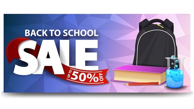 De volta à venda da escola, banner horizontal web desconto para o seu site com mochila escolar