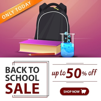 De volta à venda da escola, banner rosa com mochila escolar