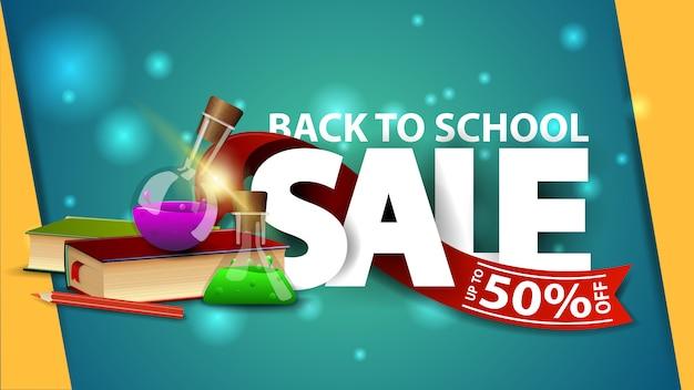 De volta à venda da escola, banner web verde com livros e frascos de produtos químicos