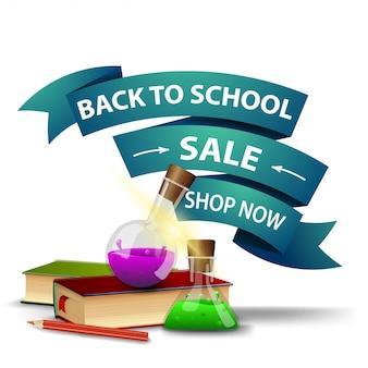 De volta à venda da escola, desconto banner web clicável na forma de fitas com livros e frascos de produtos químicos