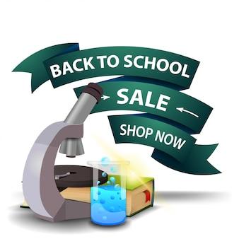 De volta à venda da escola, desconto banner web clicável na forma de fitas com microscópio
