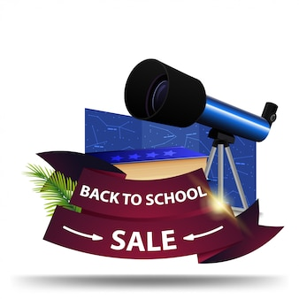 De volta à venda da escola, desconto banner web sob a forma de fitas
