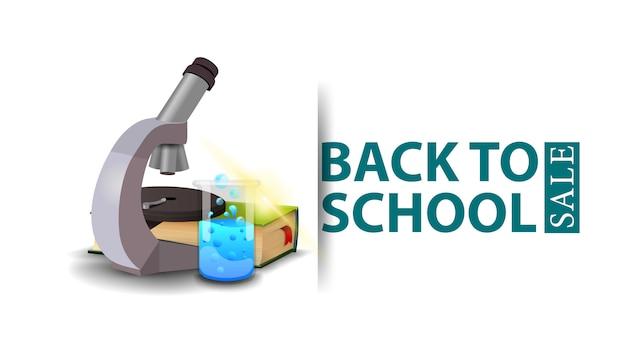 De volta à venda da escola, design moderno de um banner de desconto com microscópio, livros e frasco químico