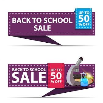 De volta à venda da escola, dois banners de desconto horizontal na forma de uma fita com microscópio