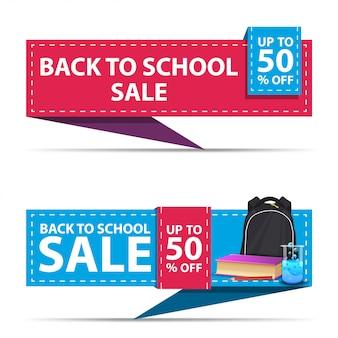 De volta à venda da escola, dois banners de desconto horizontal na forma de uma fita com mochila escolar