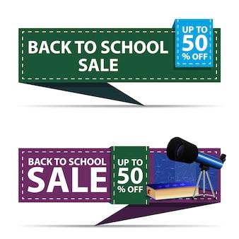 De volta à venda da escola, dois banners de desconto horizontal na forma de uma fita com telescópio