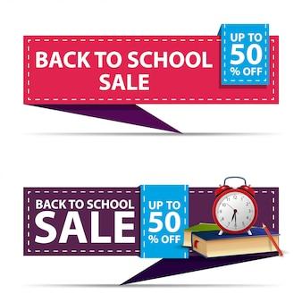 De volta à venda da escola, dois banners de desconto horizontal na forma de uma fita