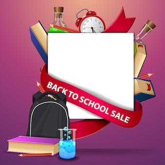 De volta à venda da escola, modelo de banner da web com mochila escolar