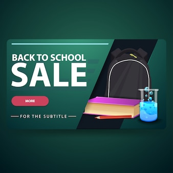De volta à venda da escola, moderna bandeira web volumétrica em 3d para o seu site com mochila escolar