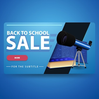De volta à venda da escola, moderna bandeira web volumétrica em 3d para o seu site com telescópio