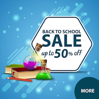 De volta à venda de escola, banner de web de desconto quadrado com livros e frascos de produtos químicos