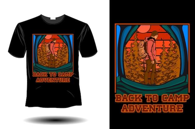 De volta ao acampamento aventura maquete design retro vintage